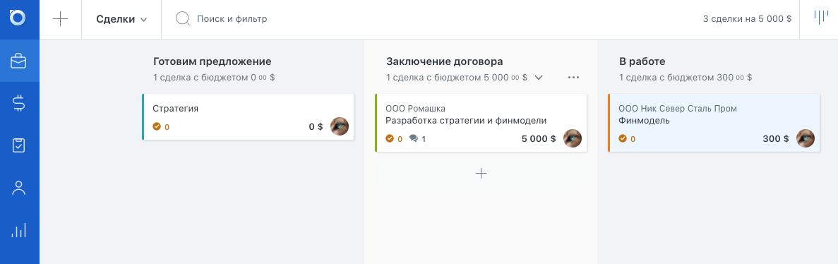 Интерфейс для сделок в Brizo