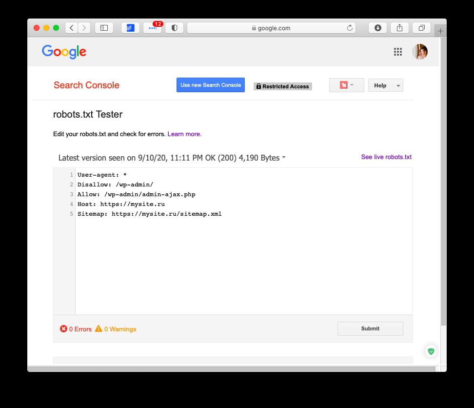 Проверка robots.txt в Google Search Console