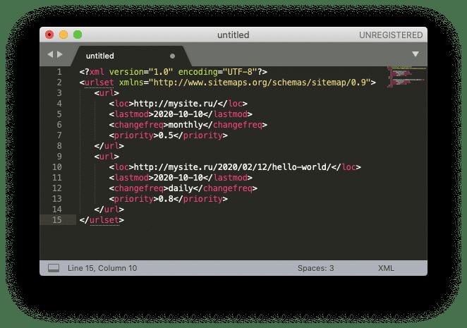 Создание создание sitemap в редакторе